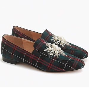 Jcrew Embellished Loafers in Festive Plaid